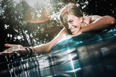 basking: Teen in a pool