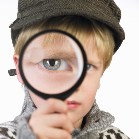 dressups: Boys eye through a magnifying glass