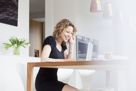 enthusiastically: Woman working in home office LANG_EVOIMAGES