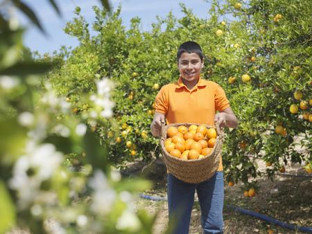 Boy showing basket full of oranges LANG_EVOIMAGES