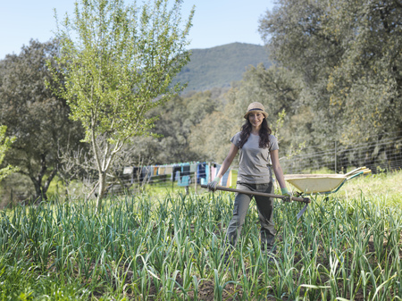 summers: Woman standing in garlic field
