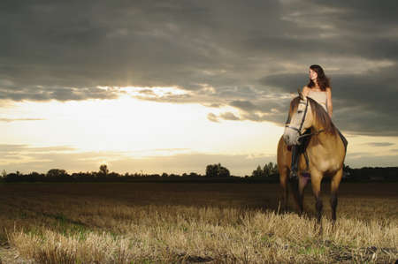 mornings: Girl and horse