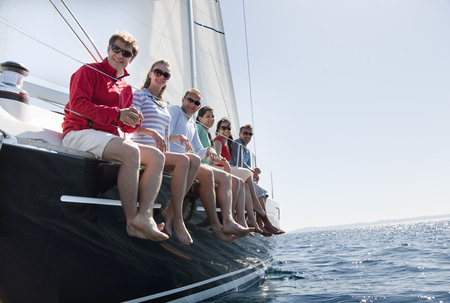 Team of six on yacht LANG_EVOIMAGES