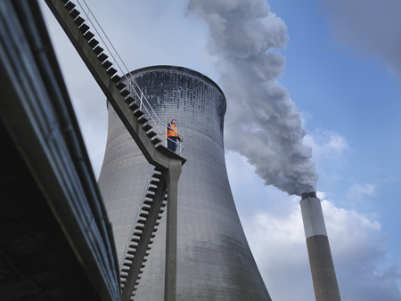 Worker At Coal Fired Power Station