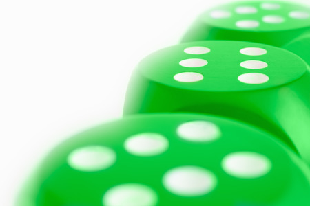 Green Dice all with sides of sixes