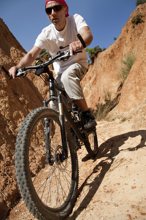 Mountainbiker in canyon