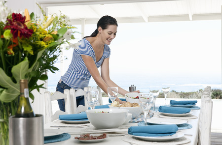 entertaining area: Preparing a table for a meal