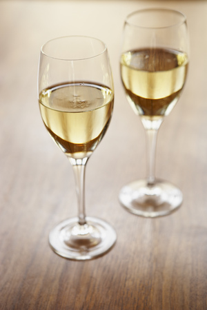 refreshed: Glasses of white wine