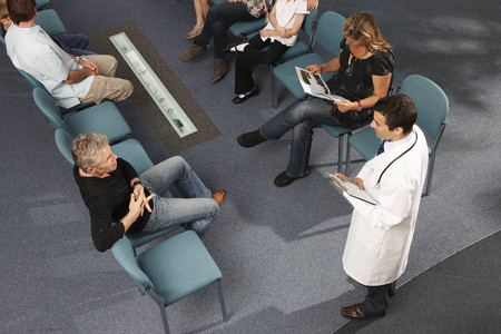 interrogations: Doctor and patients in waiting area