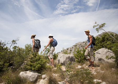 pursued: Hikers on coastal path LANG_EVOIMAGES