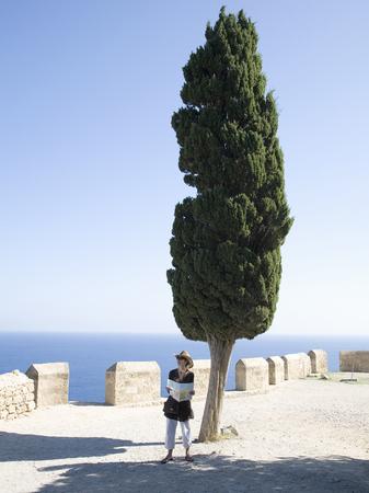 mujer mirando el horizonte: Mujer, mirar, mapa, grande, árbol