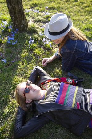 Women taking a break in a park