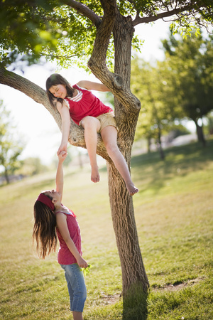 Girl helping friend climb tree