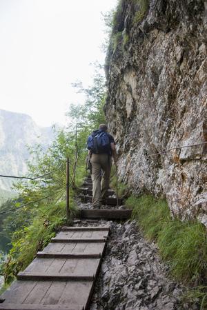 Man hiking uphill