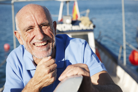 enthusiastically: Fisherman on fishing boat
