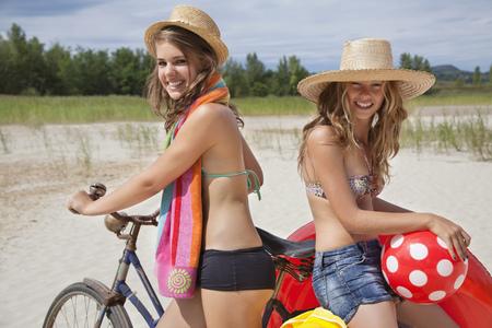 Pretty women happy on the beach