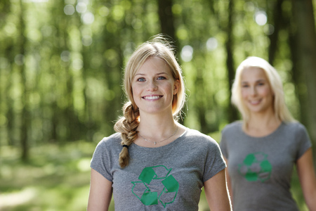 environmentalism: Two young women in nature