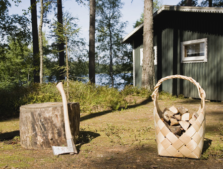 Axe and firewood by wooden cabin LANG_EVOIMAGES