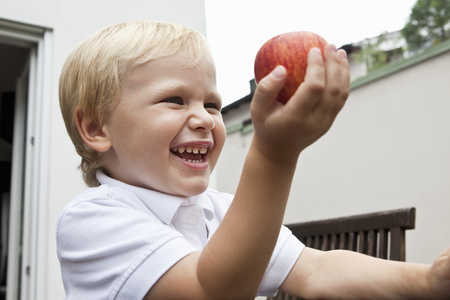 Young Boy holding apple in his hand LANG_EVOIMAGES