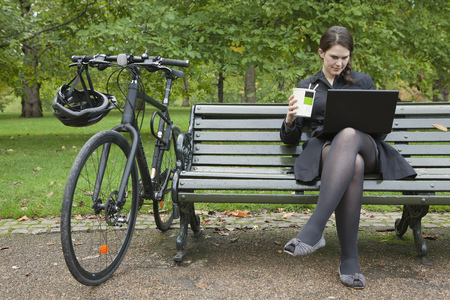 telecommuter: Woman looking at laptop and eating lunch LANG_EVOIMAGES