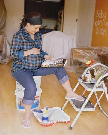 futuristic interior: Pregnant woman nesting