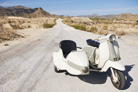 journeying: Motorbike and side car on the road