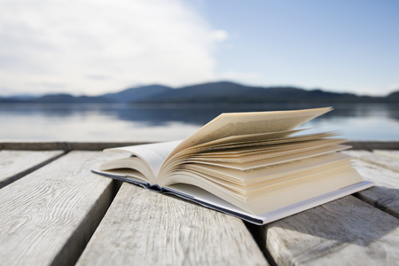 tomes: Book on jetty by sea and mountains