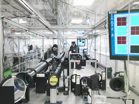 accurately: Scientists working with laser