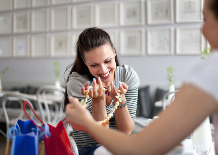 shared sharing: Young women shopping