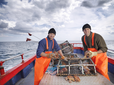 Fishermen sort catch of crabs on boat