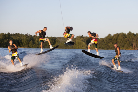 feats: Wakeboarder performing 360 trick