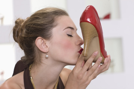 Woman kissing her pumps