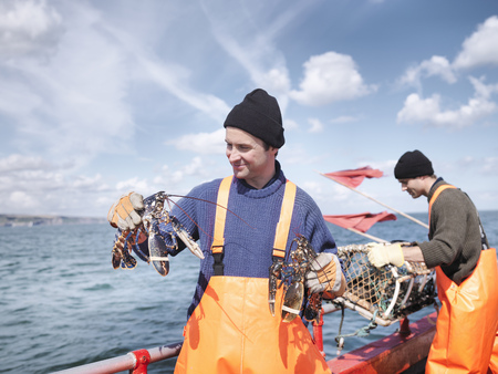 affiliation: Fishermen on boat holding lobsters LANG_EVOIMAGES