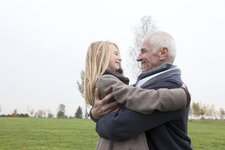 grampa: Grandfather and granddaughter outdoors