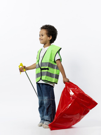 obligations: Boy with cleaning gear
