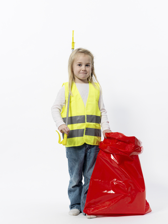 enthusiastically: Girl with cleaning gear