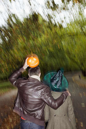 dressups: Man and woman going to halloween party