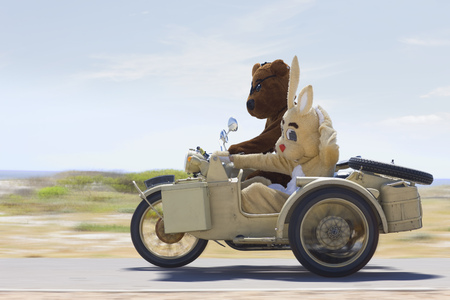 silliness: Bear and bunny riding a motorbike