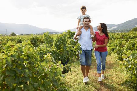 Family walking through vineyard