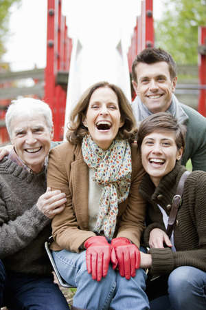 matured: Family in the park laughing