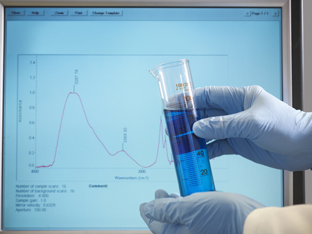 analyses: Hands holding sample in front of monitor