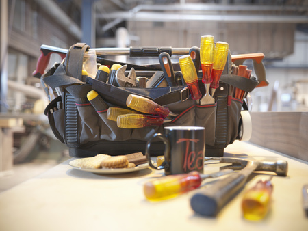 tea breaks: Tool kit with cup of tea and biscuits LANG_EVOIMAGES