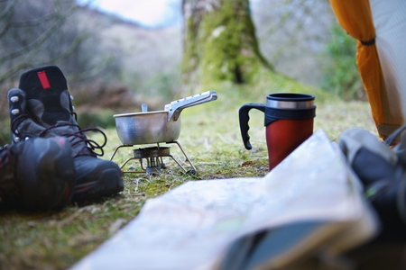 remoteness: Cooking stove at campsite
