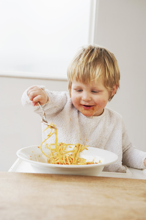 Baby Eating Spaghetti