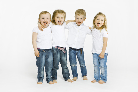 equivalents: Four toddlers sticking tongues out