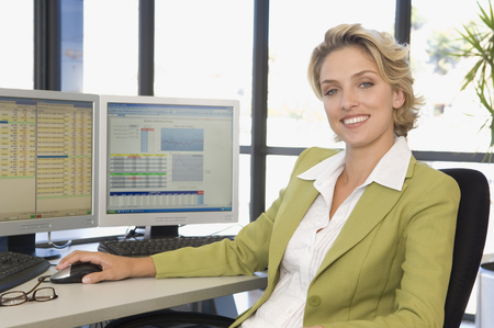 motivations: Buisness woman at the computer smiling LANG_EVOIMAGES