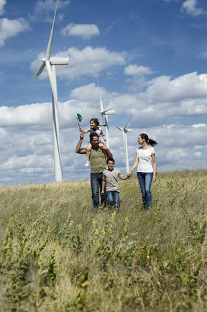 Family on a windfarm