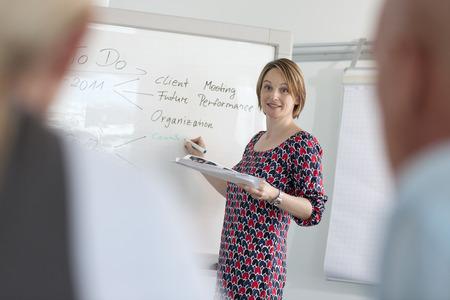 interrogations: Businesswoman writing on whiteboard