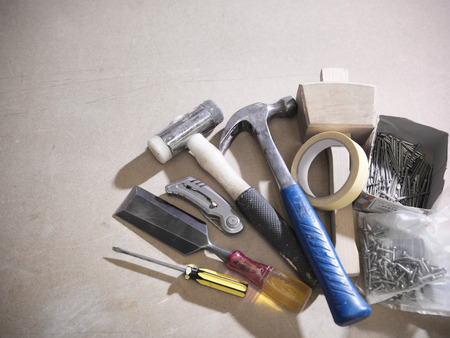 selections: Assorted tools on work surface LANG_EVOIMAGES