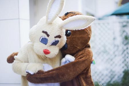 dressups: Bear embracing bunny